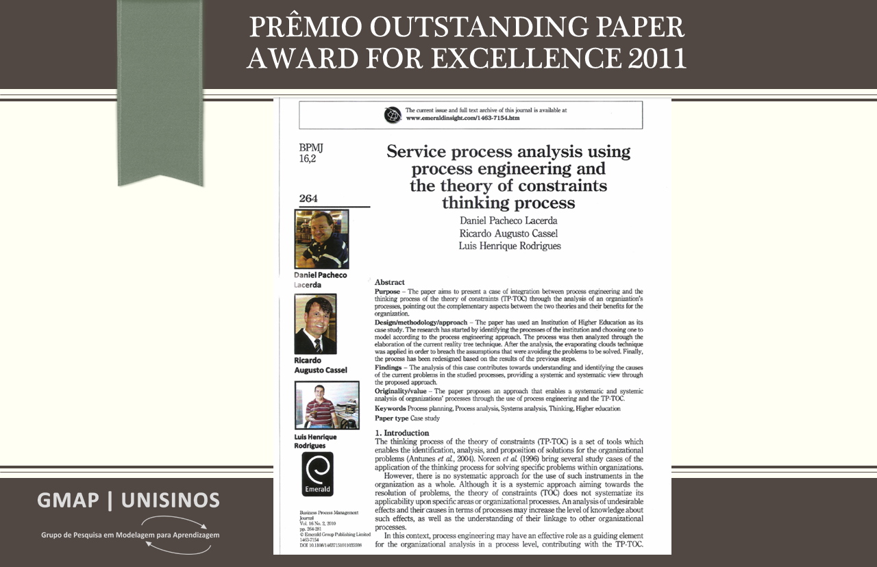 Prêmio Outstanding Paper Award for Excellence